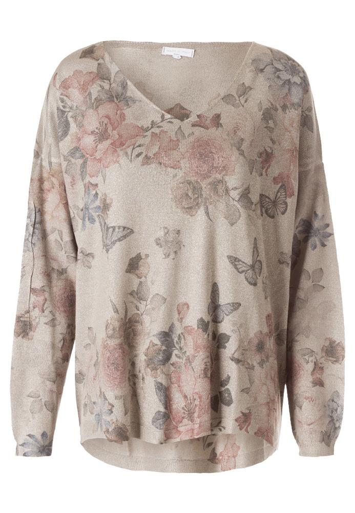 Strickshirt mit Blumen-Print