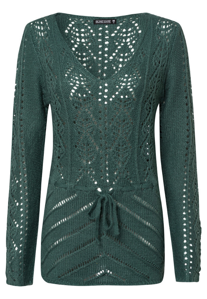 Long-Pullover mit Ajour-Muster