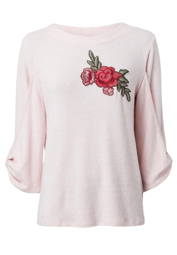 Pullover mit Rosen-Stickerei