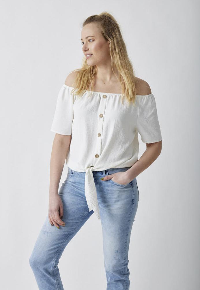 Off-Shoulder-Bluse mit Holzknöpfen