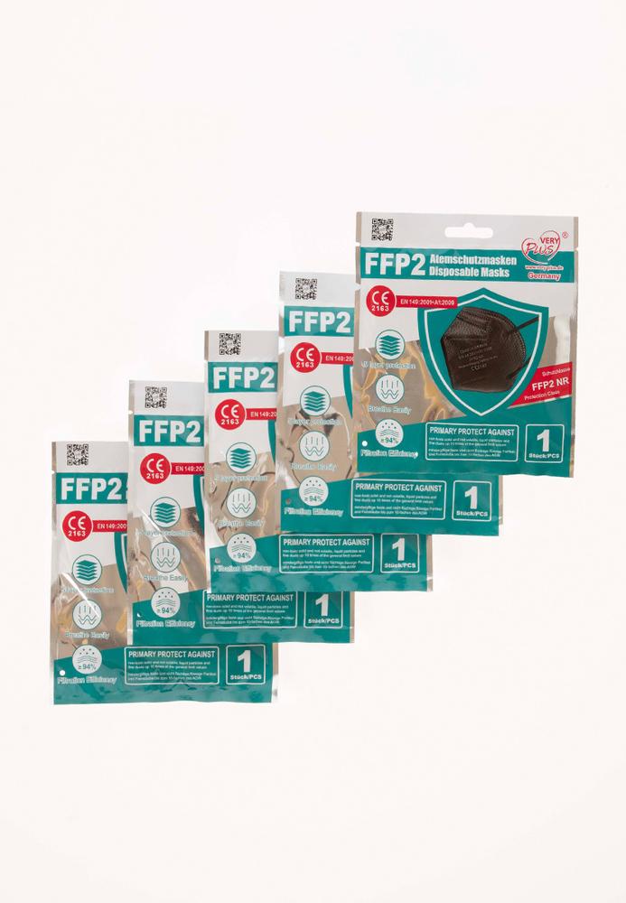 FFP2-Maske schwarz, 5er-Pack
