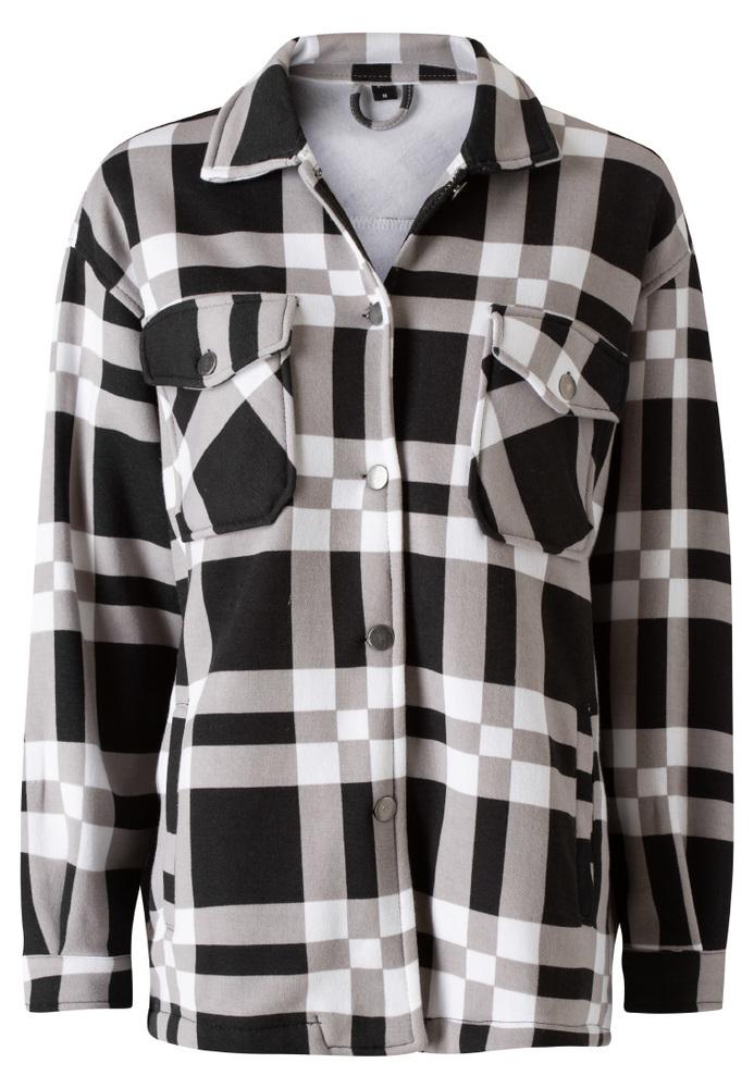 Blusen-Jacke mit Karo-Muster