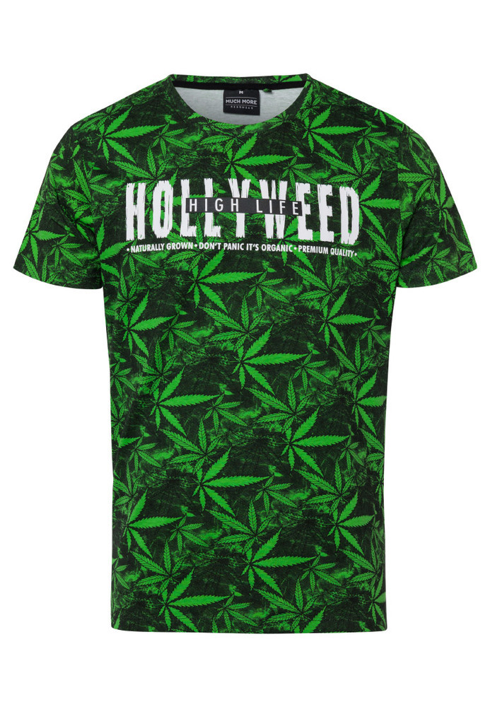T-Shirt mit All-Over Hanf-Print
