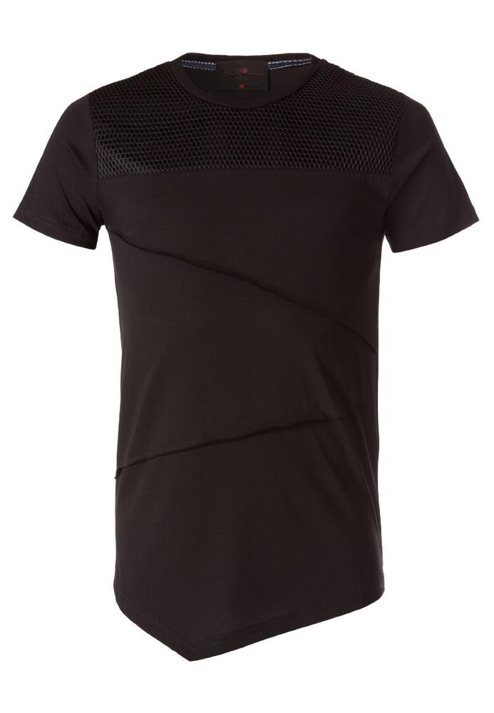 T-Shirt mit Netz-Besatz
