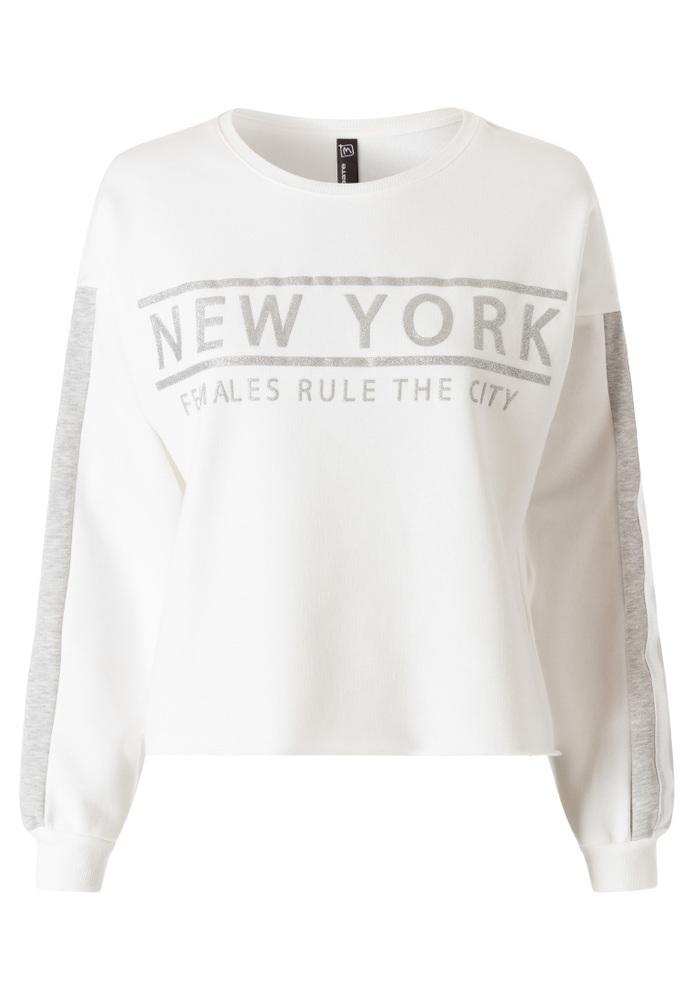 Crop Sweatshirt mit Schriftzug-Print