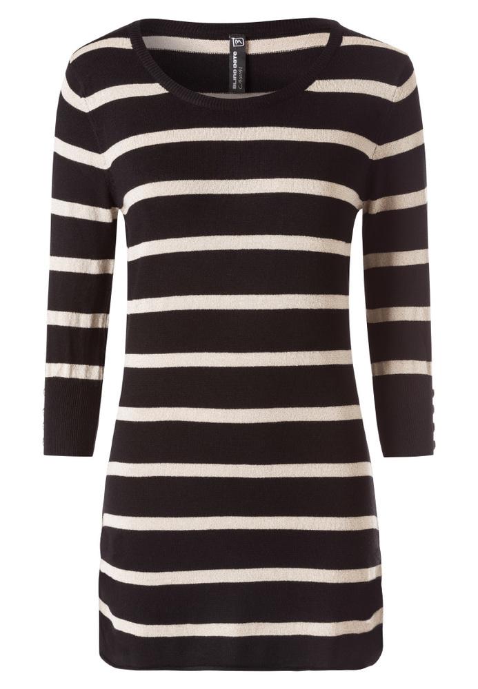 Long Pullover mit Streifen